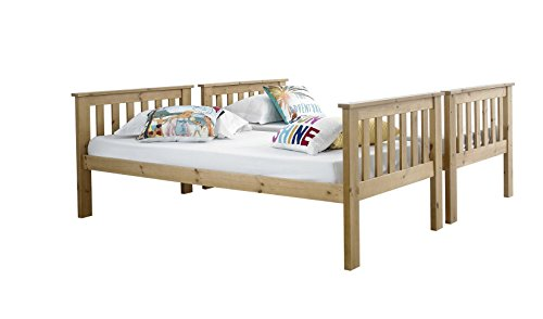 Happy Beds Atlantis Pine Finished Solid Pine Wooden Bunk Bed With 2x Orthopaedic Mattress