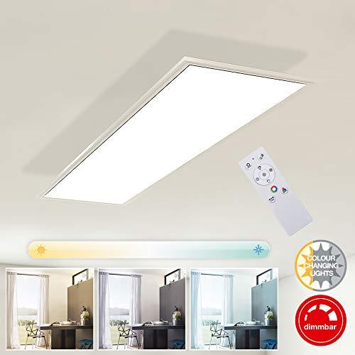 Briloner Leuchten Deckenlampe, LED Panel dimmbar, Farbtemperatursteuerung, inkl. Fernbedienung, 23W, 2.200 Lumen, Weiß, Kunststoff, 23 W, 1000x250x48mm (LxBxH)