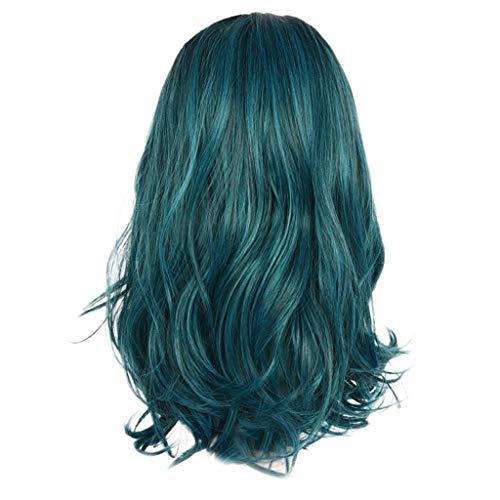 DOGZI Perücke Synthetik Perücke Hitzeresistente Perücken, Mode Rosa Grün Rot Gold Lange Lockige Haare Perücke Synthetische Wasserwelle Langes Haar -