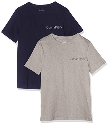 Calvin klein 2pk tees t-shirt, grigio (1greyheather/1blueshadow. 039), 8 anni bambino