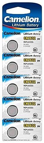 Camelion 13005632Lot de 5 piles bouton au lithium CR1632