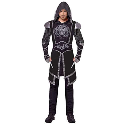 3 Schwarz Creed Assassin's Kostüm - NET TOYS Hochwertiges Assassinen Kostüm für Herren - Schwarz L (52) - Geheimnisvolle Männer-Verkleidung Extravagantes Assassin's Creed Kostüm für Herren - Perfekt geeignet für Mottoparty & Kostümfest