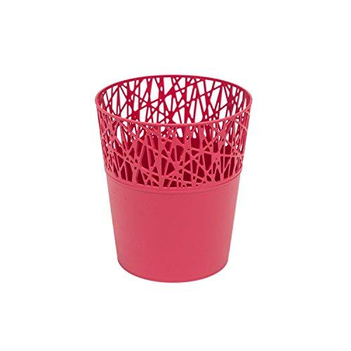 Rond cache-pot 14 cm CITY en plastique romantique style en framboise