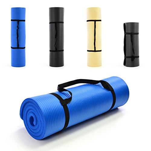 Yoga-Matte extra-dick und weich Gymnastikmatte Fitnessmatte Pilates-Matte, Schadstofffrei, mit Tragegurt 190 x 60 x 1,5 cm, Farbe: blau