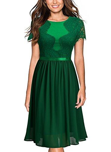 Miusol Damen Abendkleid Sommer Chiffon festlich Kleid Cocktailkleid Vinatge kleider Green Gr.M -
