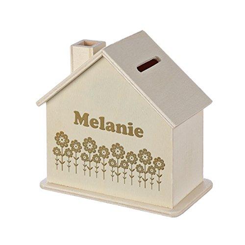 Spardose Haus mit Gravur - Sparbüchse aus Holz - Geschenk für jeden Anlass - Motiv Blumenmeer