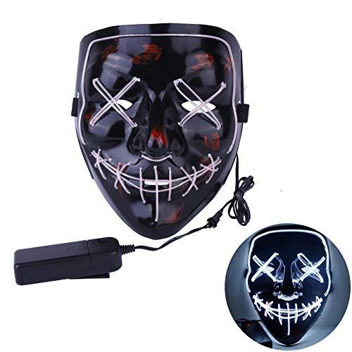 Jugendliche Für Scary Kostüm - URMAGIC Halloween Kostüm Maske leuchtenden Schädel voller Gesichtsmaske Horror Skelett Cosplay Masquerade Scary EL Draht führte Licht blinkende Maske Glühen in dunkel für Karneval Festival Party