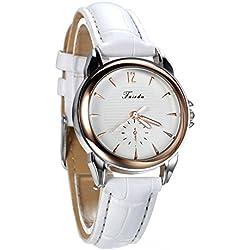 Montre Femme Avaner Montre Bracelet à Quartz Cadran Numérique Échelle de Barre- Afficahge Analogique -Bracelet en Cuir Bracelet Montre Femme (Blanc)