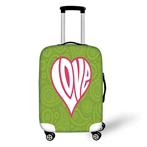 Travel Luggage Cover Suitcase Protector,Groovy Decorations,Heart Illustration on Paisley Background Centre of Love Nutrient Retro Design,Green White Pink,for Travel,L Groovy Girls Club