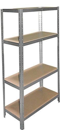 Schwerlastregal 180 x 30 x 60 cm mit 4 Böden Stecksystem aus Metall verzinkt: Metallregal geeignet als Kellerregal, Lagerregal, Archivregal, Ordnerregal, Werkstattregal