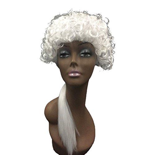 Kostüm Perücke Richter - BESTOYARD Cosplay Richter Perücke Gericht Anwalt Perücken Kopfbedeckung Kostüm Gentleman Barock langes lockiges Haar (weiß)