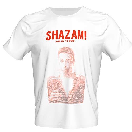 Pandacos Shazam T-Shirt Herren Shirt mit Rundhals-Ausschnitt weiß aus Baumwolle&Polyeterfasern Freizeitshirt Cosplay Zubehör S-XL (Shazam Schwarzen Kostüm)