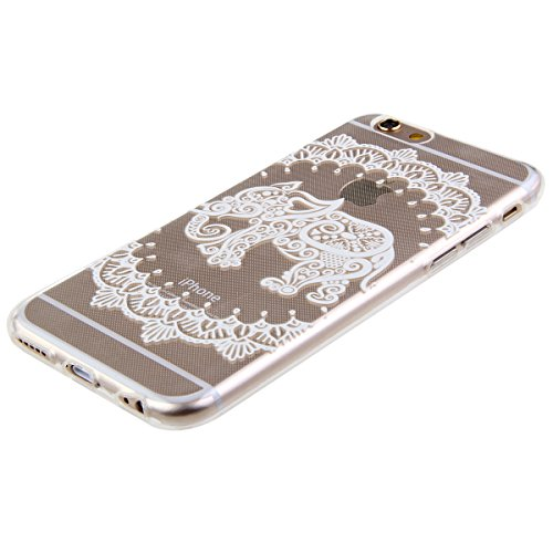 SainCat Coque Housse Apple iPhone 6 Plus/6s Plus,Transparent Coque Silicone Etui Housse,iPhone 6 Plus/6s Plus Silicone Case Soft Gel Cover Anti-Scratch Transparent Case TPU Cover,Fonction Support Prot l'éléphant#1