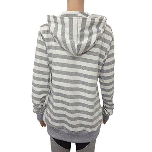 Yogogo Femmes Manches Longues Hoodie Sweatshirt Jumper À Capuche Pulls Tops Blouse gray