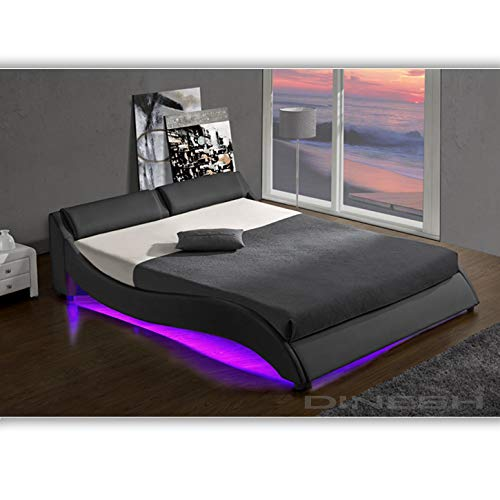 DI-LIFESTYLE Texas Schwarz Doppelbett Polsterbett LED Unterbodenbeleuchtung Bett Lattenrost Kunstleder (160cm x 200cm)
