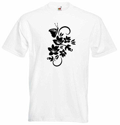 T-Shirt D152 T-Shirt Herren schwarz mit farbigem Brustaufdruck - Tribal Blumen mit schönem Schmetterling Weiß