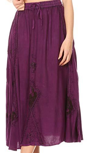 Womens Boho Embroidery Gypsy Rock mit elastischer Taille an den Taschen - Lila - OSP ()