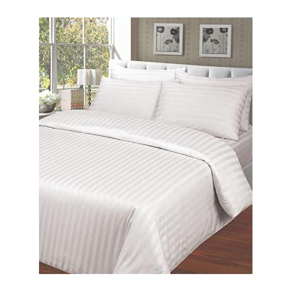 ARiANA Satin Stripe Gold Collection 300 TC 100% Cotton King Size (108 inch X 108 inch) Bedsheet with 2 Pillow Covers, Satin Stripe-DB-K- WH