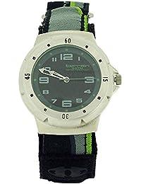 Montre Sport Terrain pour Homme Analogique Bracelet Velcro Rayé Noir/Citron Vert