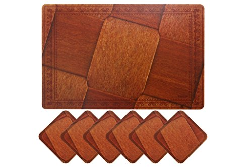 Yellow Weaves™ 6 Piece Dining Table Placemats With Tea Coaters-Brown check