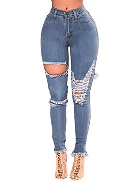 LuckyGirls Pantalones Mujer Vaqueros Rotos Cintura Alta Originals Casual Plisado Pantalón Moda Slim Skinny Legging...