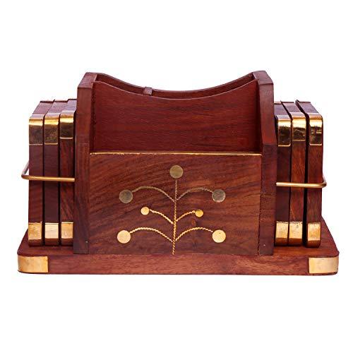 WILLART Handgefertigter mobiler Holzständer Cum Untersetzer inally Design mit zweiseitigem Untersetzer Halter -
