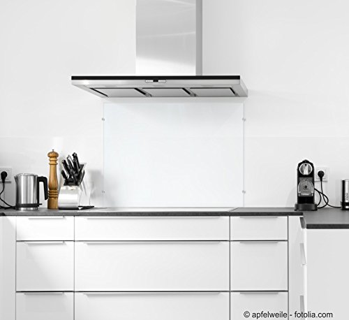 6mm ESG Glas Küchenrückwand Spritzschutz Herd Fliesenspiegel Glasplatte Rückwand viele Größen (Klarglas, 90x55cm)