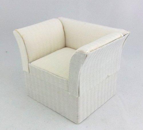 Preisvergleich Produktbild Puppenhaus Miniatur 1:12 Maßstab Wohnzimmer-möbel Creme Art-deco Sessel