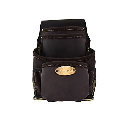 Style n Craft 90-926 10 Pocket Nail and Tool Pouch In Top Grain Oiled Leather by Style N Craft