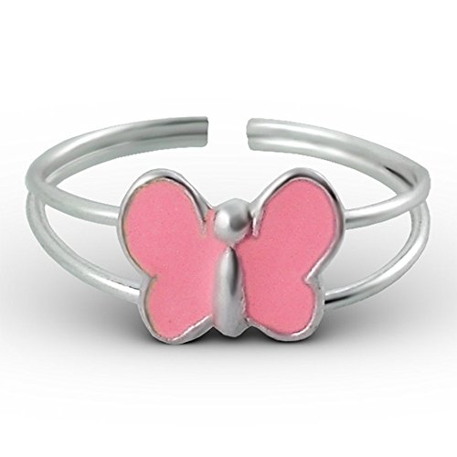 Butterfly Child's Ring Silver 925/000and Epoxy Cabochon Pink