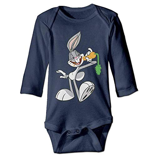 MSGDF Unisex Newborn Bodysuits Bugs with Carrot Baby Babysuit Long Sleeve Jumpsuit Sunsuit Outfit Navy