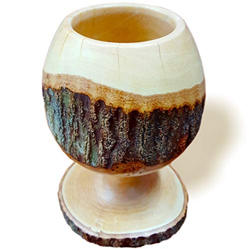 RoRo 17,8cm handgeschnitzten Holz Goblet/Kelch mit Rinde Indiana Candy