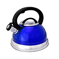 Alpine TK3001 Cuisine 3-quart Blue Dishwasher Safe Stainless Steel Whistling Tea Kettle