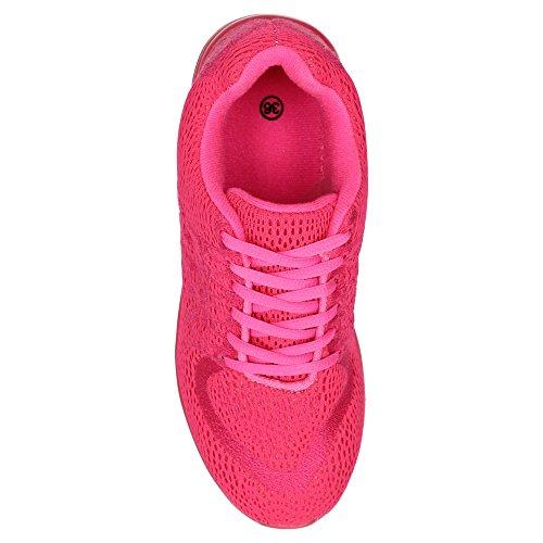 Damen Sneaker Sportschuhe Lauf Freizeit Runners Fitness Low Schuhe Pflaume/Rot