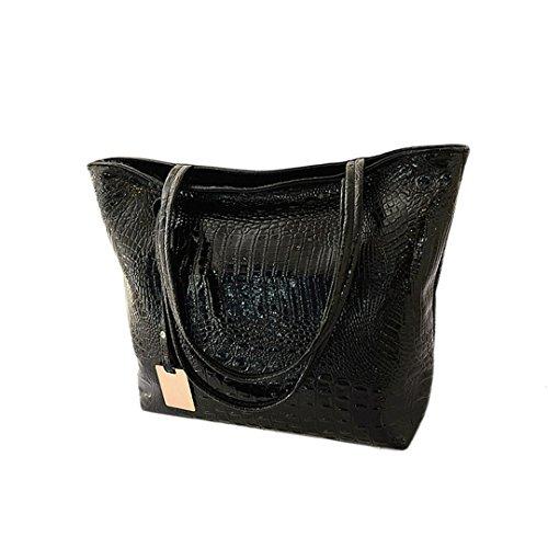 Wewod 2017 Damen Croco Prägung Leder Tasche Torte Frauen Freizeit Handtasche Große Kapazität Arbeit Schule Büro Reisen (schwarz) (Leder Handtasche Prägung)