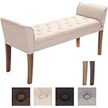 CLP Banqueta CLEOPATRA, estructura de madera, con brazos, tapizado de tela, longitud de 133 cm (aprox.) Color madera: claro, Color tapizado: crema