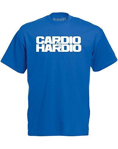 Brand88 - Brand88 - Cardio is Hardio, Mann Gedruckt T-Shirt Königsblau/Weiß