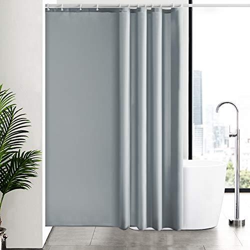New Power Duschvorhang Wasserdicht Anti-Schimmel Antibakteriell Für Badezimmer mit 12 Haken Grau 180 x 210 cm. (Duschvorhang Langen Haken)