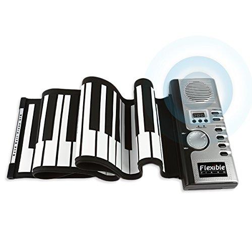 JouerNow Tragbares 61 Tasten Roll-Up Klavier USB MIDI Elektronische Soft-Tastatur Handrolles Rollpiano Silber DC - Halloween Auf Hände Wissenschaft