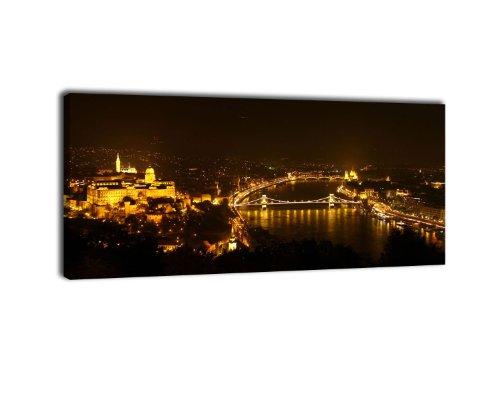 Leinwandbild Panorama Nr. 169 Budapest bei Nacht 100x40cm, Keilrahmenbild, Bild auf Leinwand, Ungarn Skyline Nacht