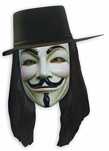 V for Vendetta Set Maske, Hut und Perücke - Kostüm (Guy Kostüm Fawkes)