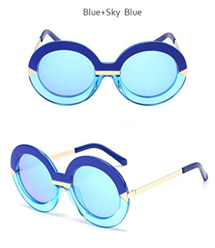 Wang-RX Fashion Oversized Round Sunglasses Women Big Frame Multi Mirror Sun Glasses For Female