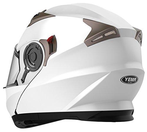 Motorradhelm Klapphelm Integralhelm Fullface Helm – Yema YM-925 Rollerhelm Sturzhelm mit Doppelvisier Sonnenblende ECE für Damen Herren Erwachsene-Weiß-XL - 4