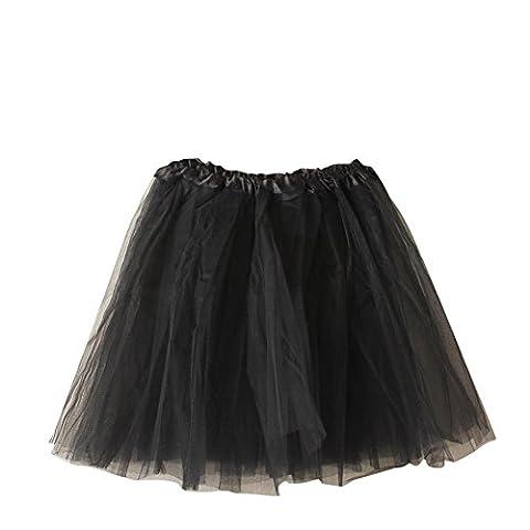 SaiDeng Jupe Courte Bal Ballet Tulle En Dentelle Costume Tutu Femme Jupon Princesse Bouffée Plissé Mini-Jupe Pour Danse Cosplay Déguisement Elastique Soirée Noir