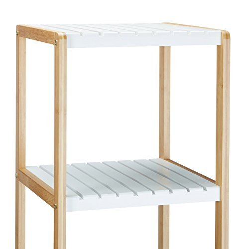Relaxdays Bambus Regal mit 4 Fächern HBT: 110 x 33 x 34 cm Schickes ...