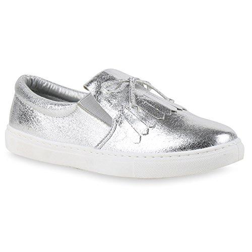Damen Sneakers Slipper Slip-ons Glitzer Skaterschuhe Flats Silber Fransen