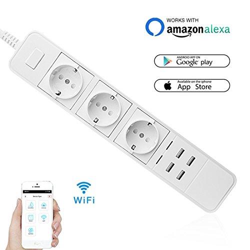 WIFI Smart Steckdose, Wrcibo Intelligente Steckdose Switch Socket Fernbedienung Timing Funktion Smart Plug WLAN USB Steckdosenleiste Arbeiten mit Echo Alexa für IOS / Android (EU Stecker) Weiß (Timer Switch, 20 Minuten)