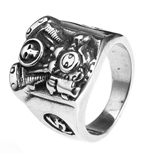 Aeici Herrenringe Edelstahl Biker Motor Edelstahlring Breit Ring Silber Größe 65 (20.7)
