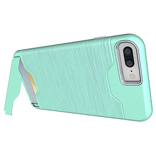 """MOONCASE iPhone 6S Coque, Brushed Housse Hybride TPU +PC Etui Antichoc Card Holder Protection Dual Layer Armure Case pour iPhone 6 / 6S 4.7"""" Gris Teal"""