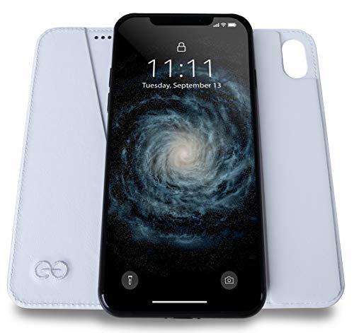 Dreem Bond Micro-Suction Wallet Folio for iPhone XS Max, Ultra Slim Detachable Design, Swanky Soft Vegan Leather, RFID Protection, Kick-Stand, Premium Gift-Box - White Micro Folio